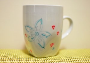 Red and blue flower mug 2